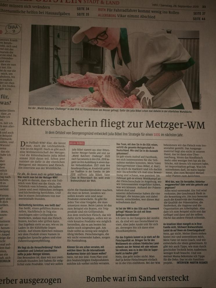 Zeitungsbericht: Wbc Teilnahme