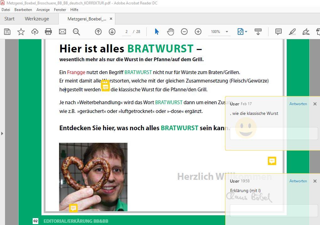Korrektur Bratwursthotel-Broschüre