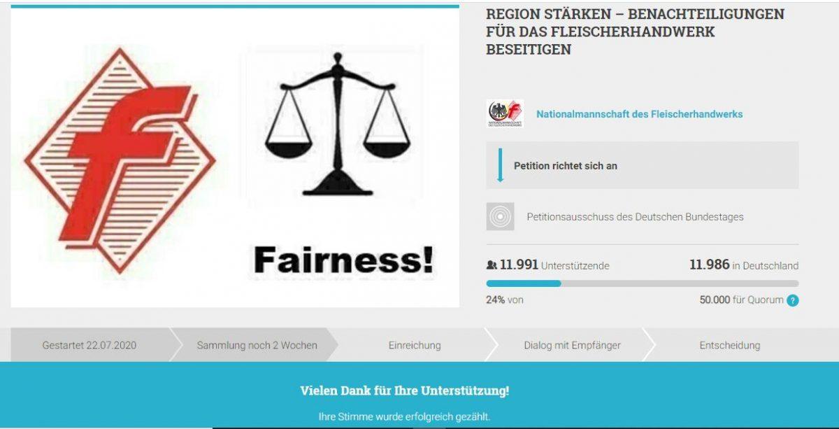 Petition: Fleischerhandwerk